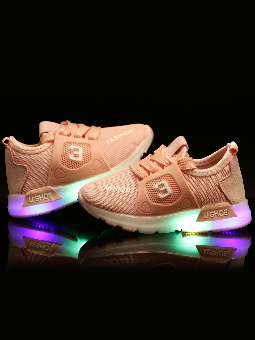 Peach-Coloured LED Lightweight Sneakers