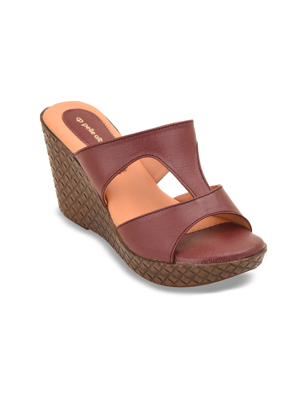 Maroon Solid Leather Wedges