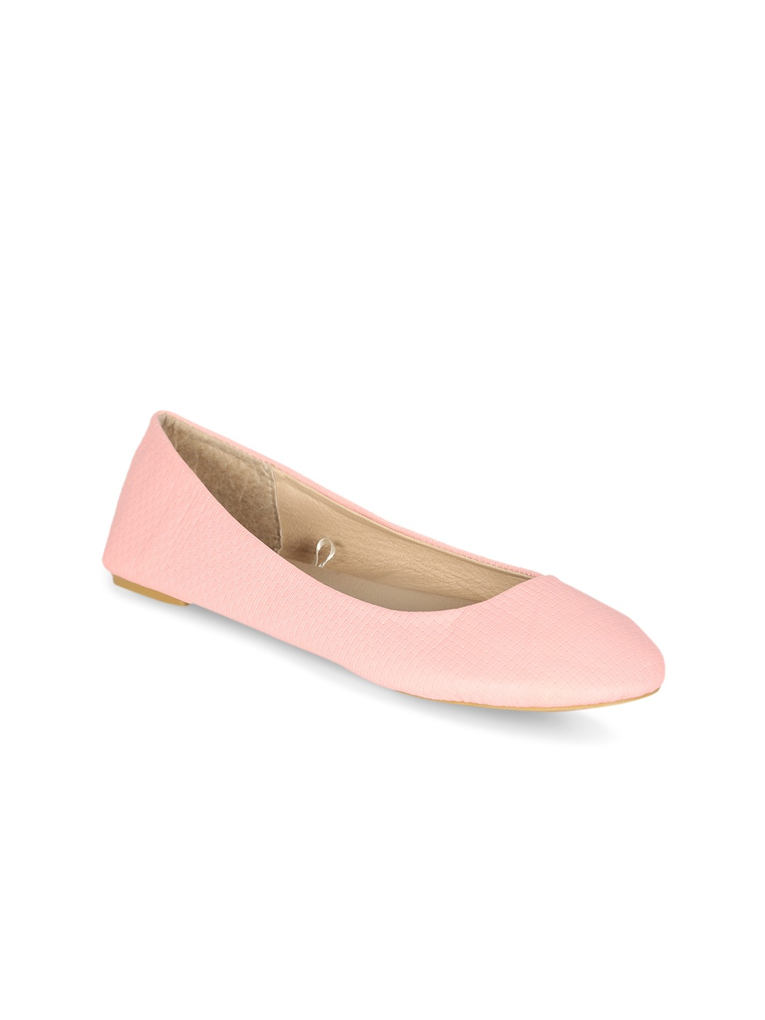 Pink Solid Synthetic Leather Ballerinas