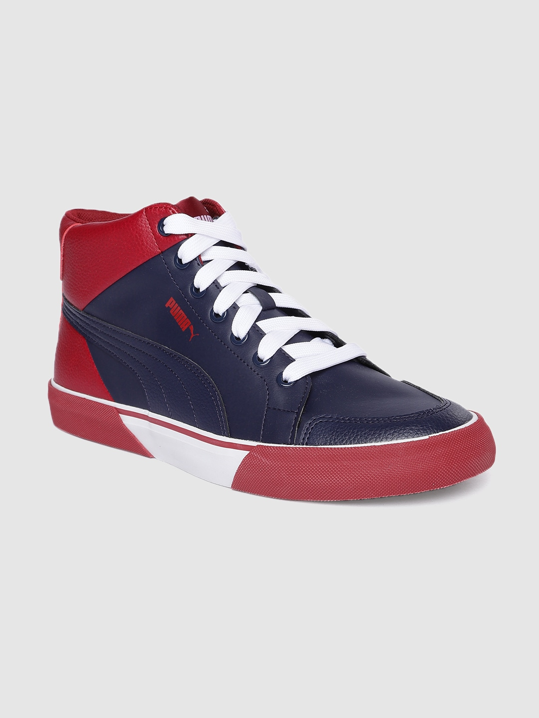 Navy Blue & Red Colourblocked Crush IDP Mid-Top Sneakers