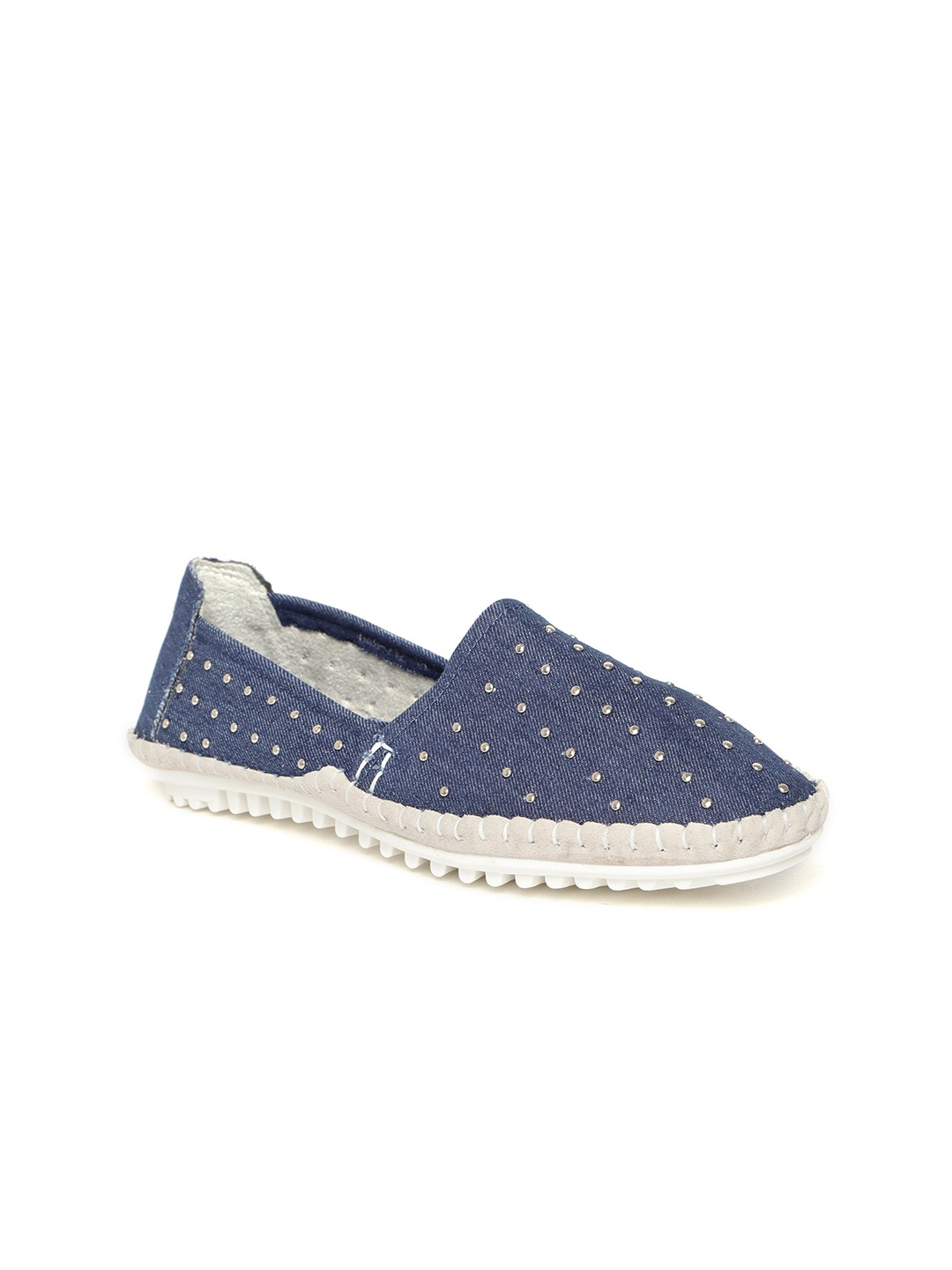 Blue Studded Slip-On Sneakers