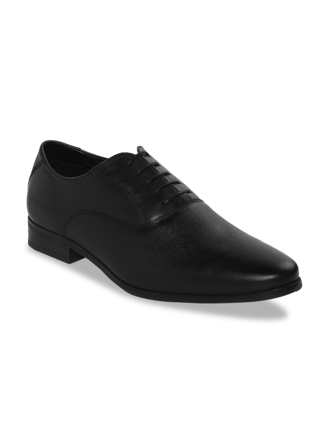 Black Solid Leather Formal Oxfords