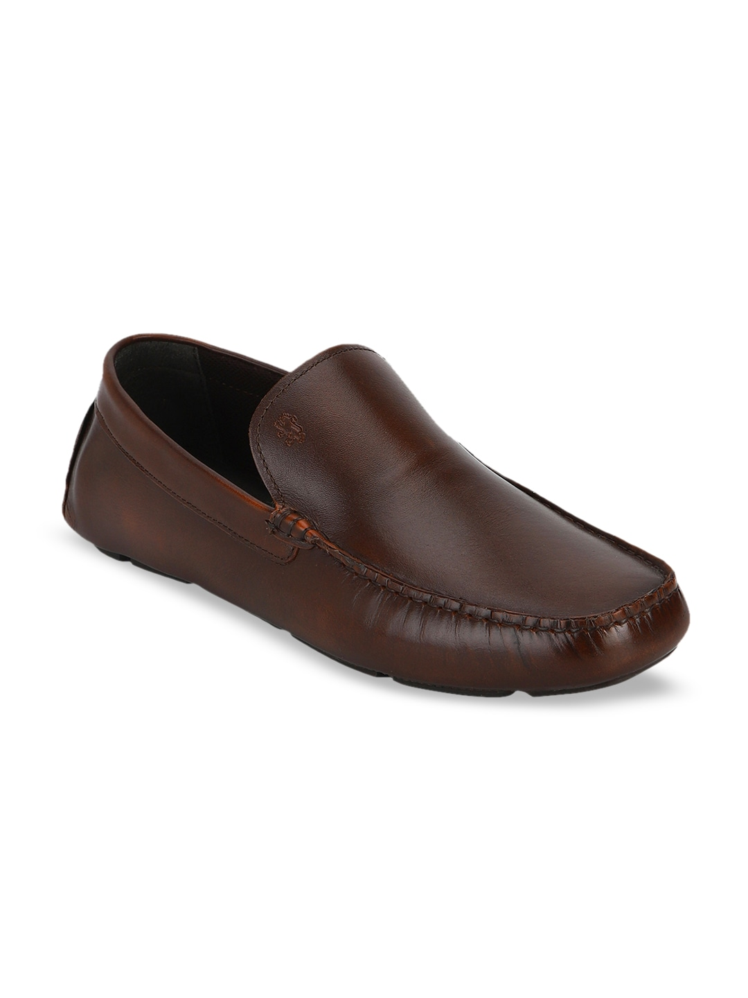 Brown Solid Leather Formal Loafers