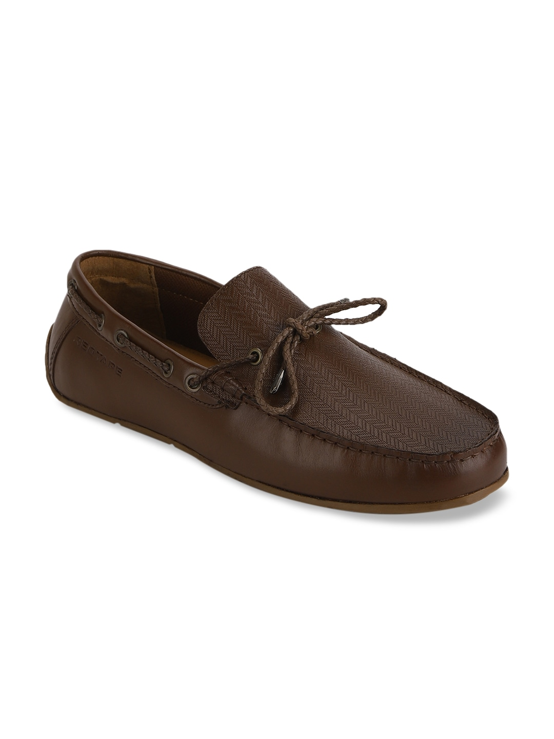Brown Textured Leather Boat Shoes