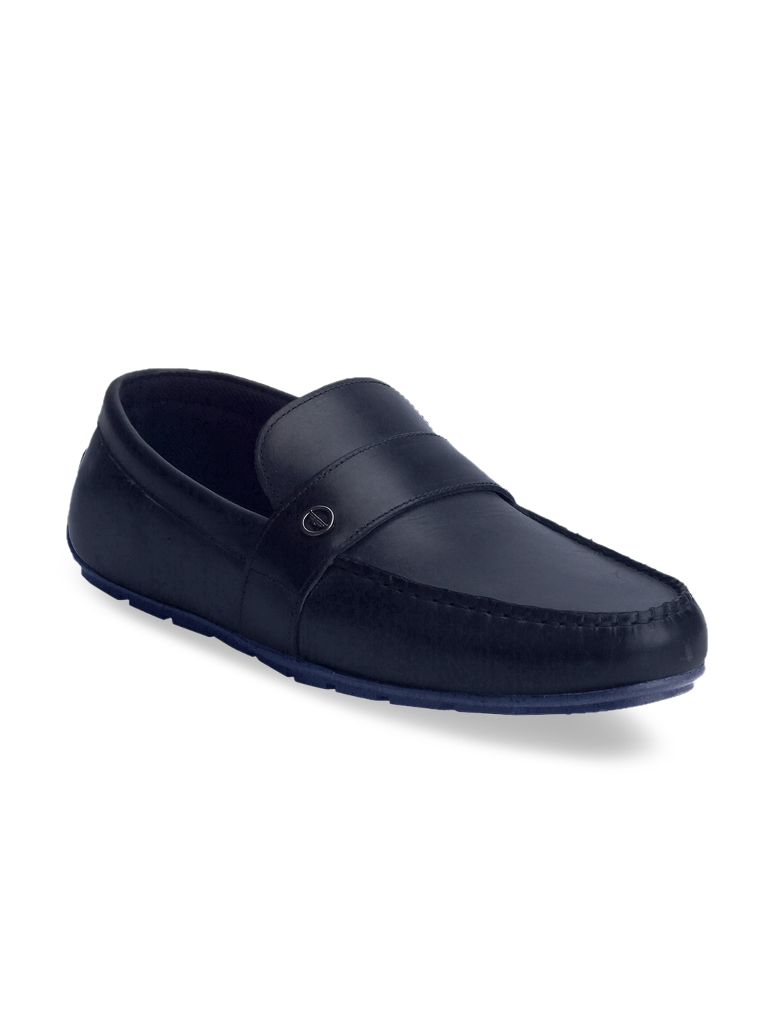 Navy Blue Solid Semiformal Leather Loafers