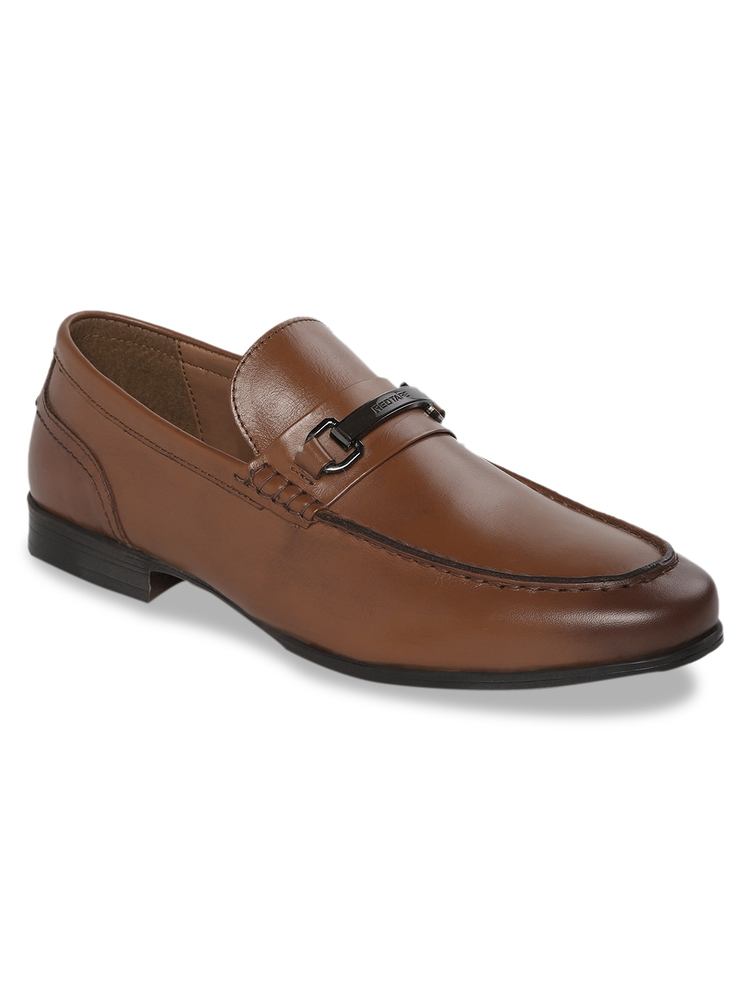 Tan Brown Solid Leather Formal Loafers