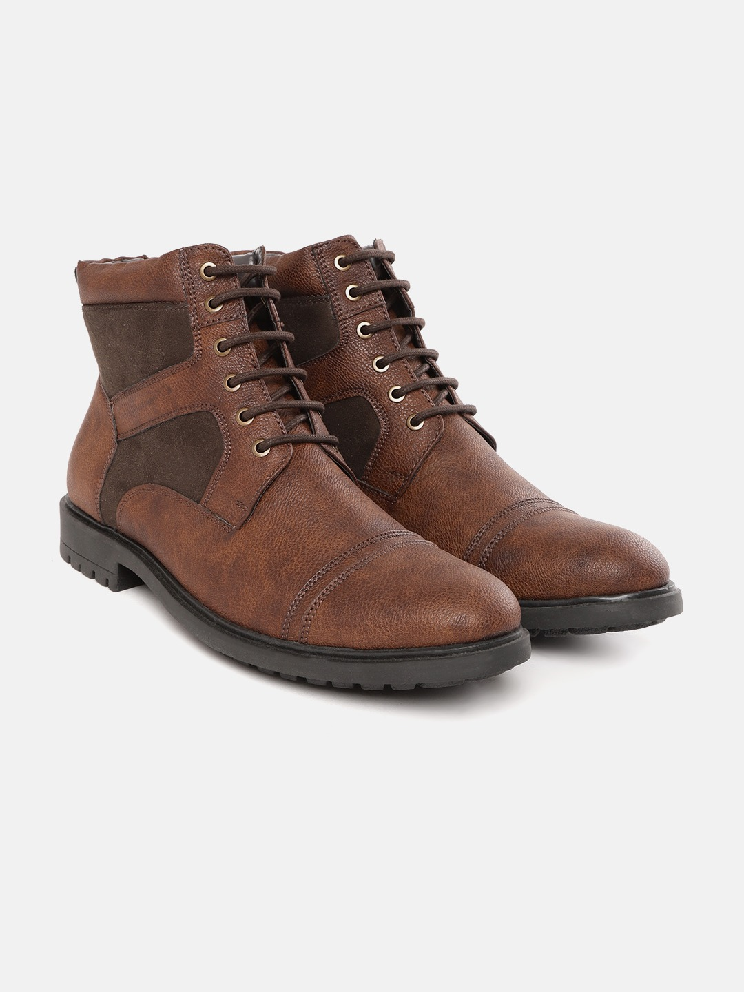Brown & Olive Green Solid Mid-Top Flat Boots