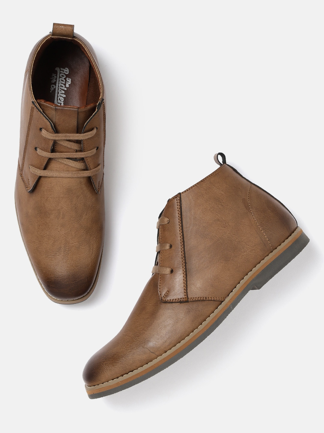 Brown Solid Mid-Top Flat Boots