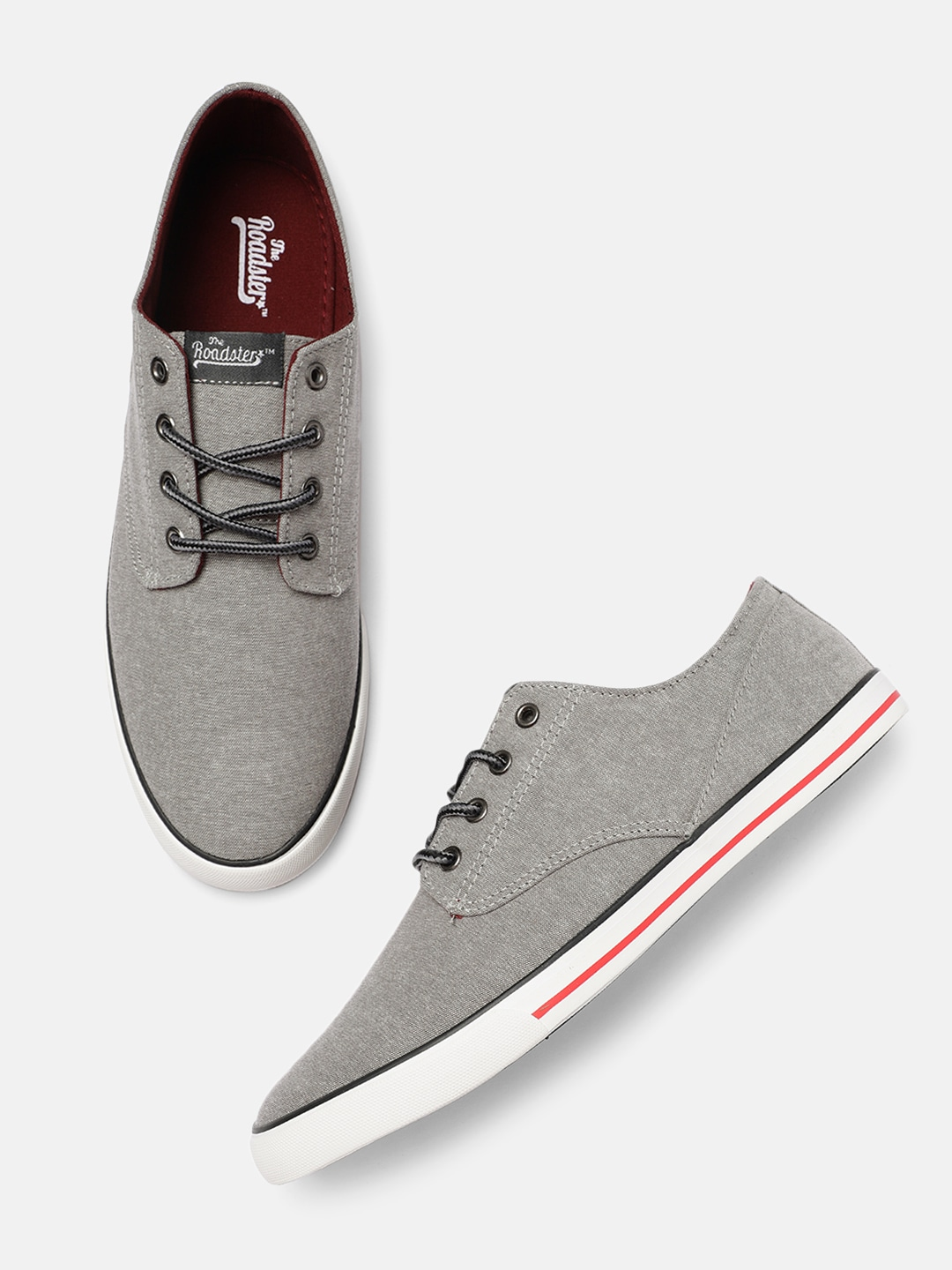Grey Solid Lace-Up Sneakers