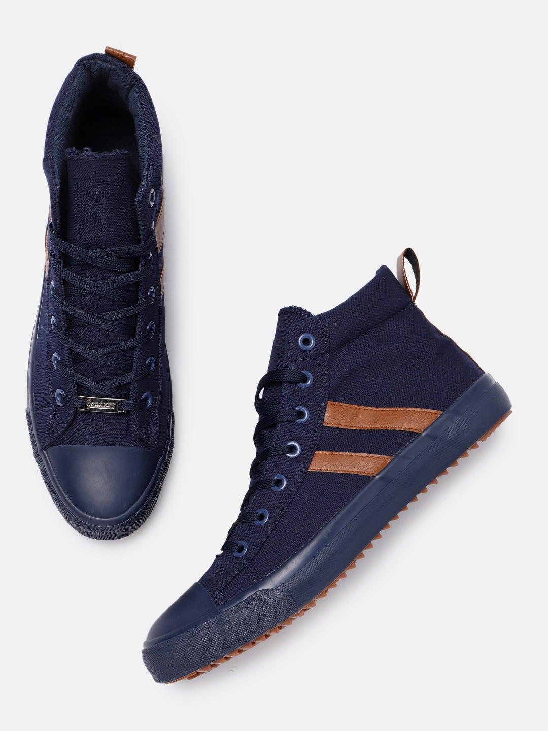 Navy Blue Solid Mid-Top Sneakers