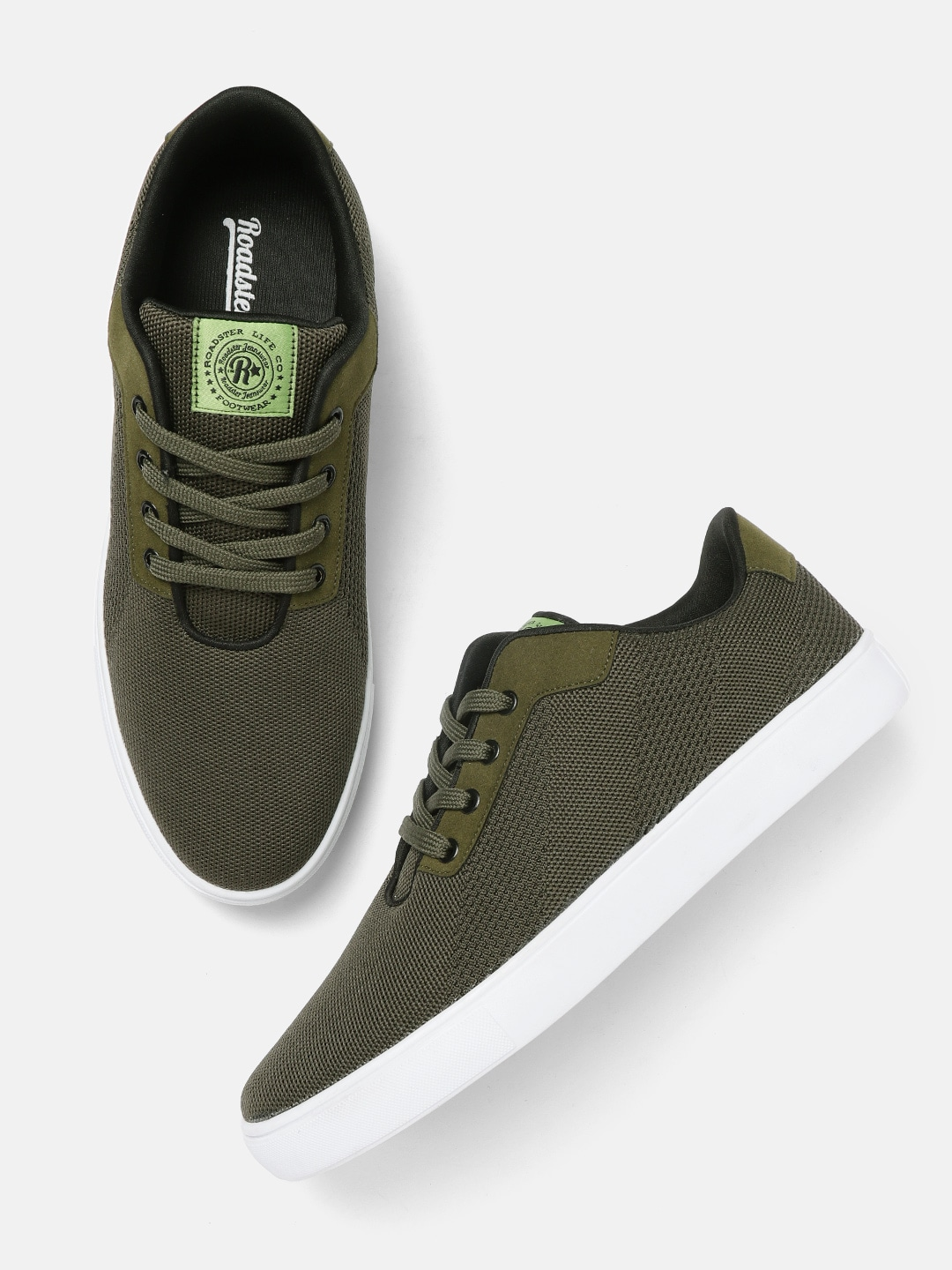 Olive Green Woven Design Sneakers