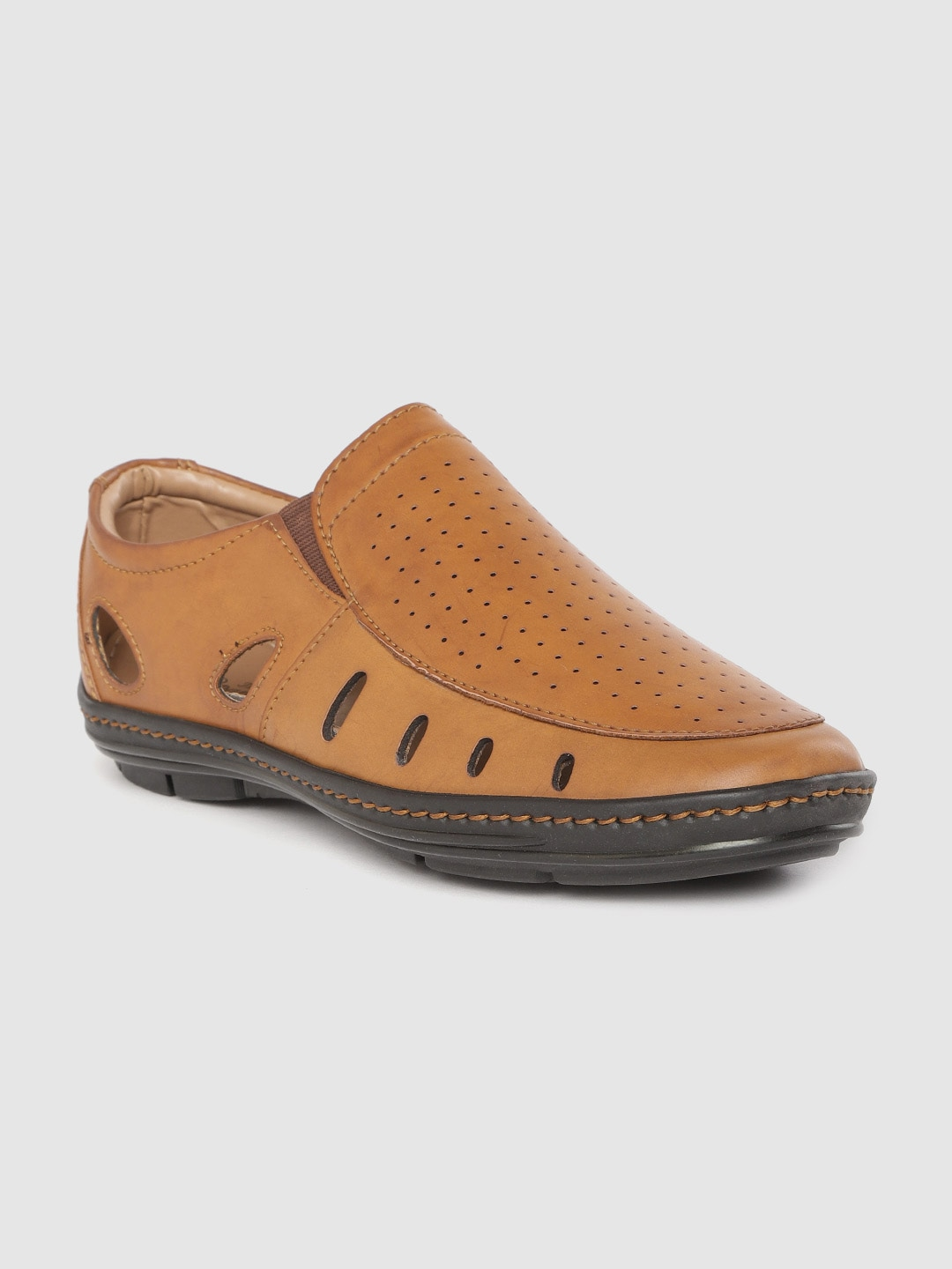 Tan Brown Perforated Shoe Style Sandals with Cut Out Detail