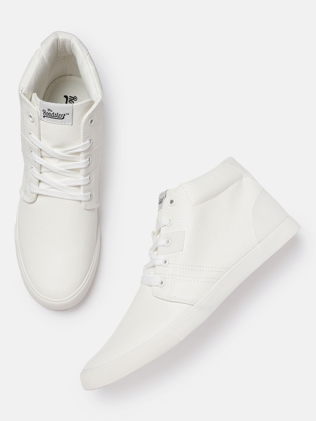 White Solid Lace-Up Sneakers