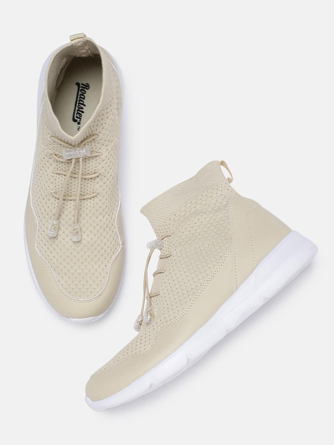 Beige Mid-top Sneakers