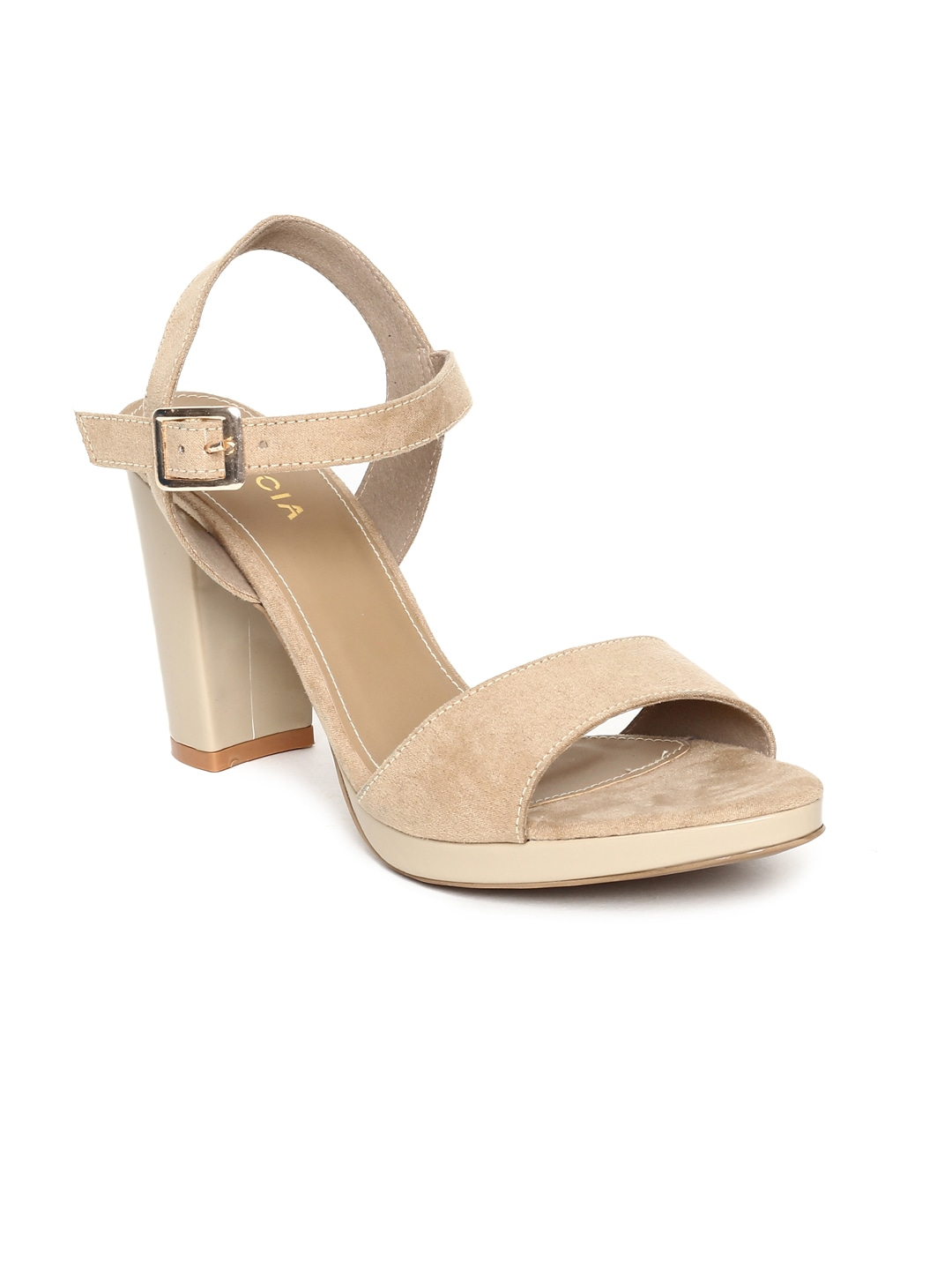 Beige Solid Sandals