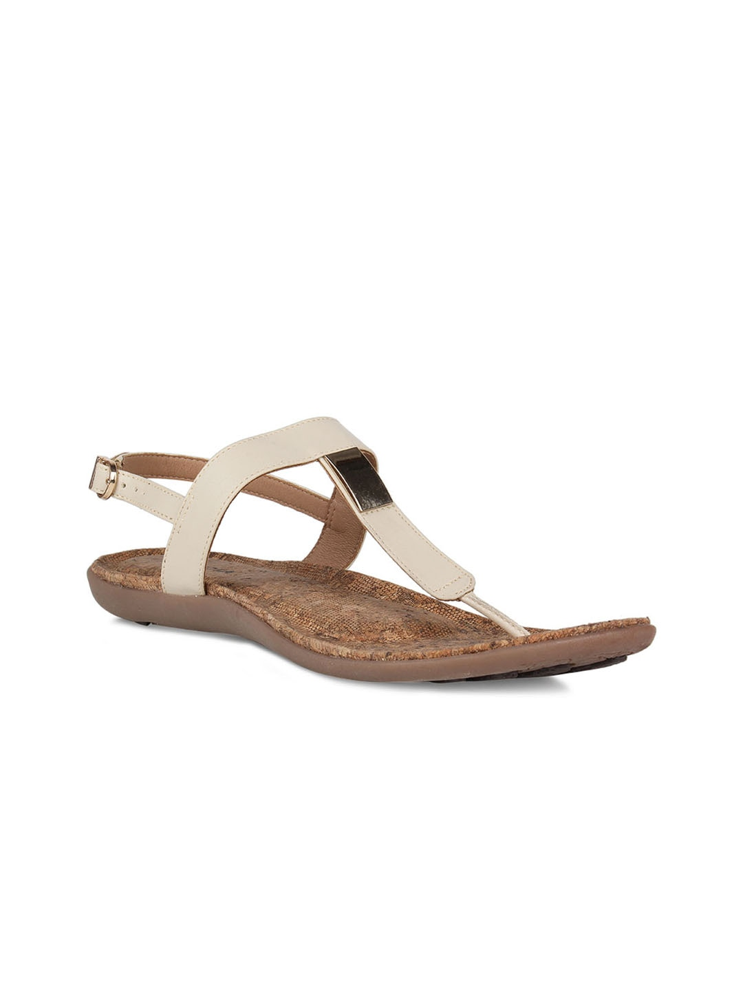 Beige Solid T-Strap Flats
