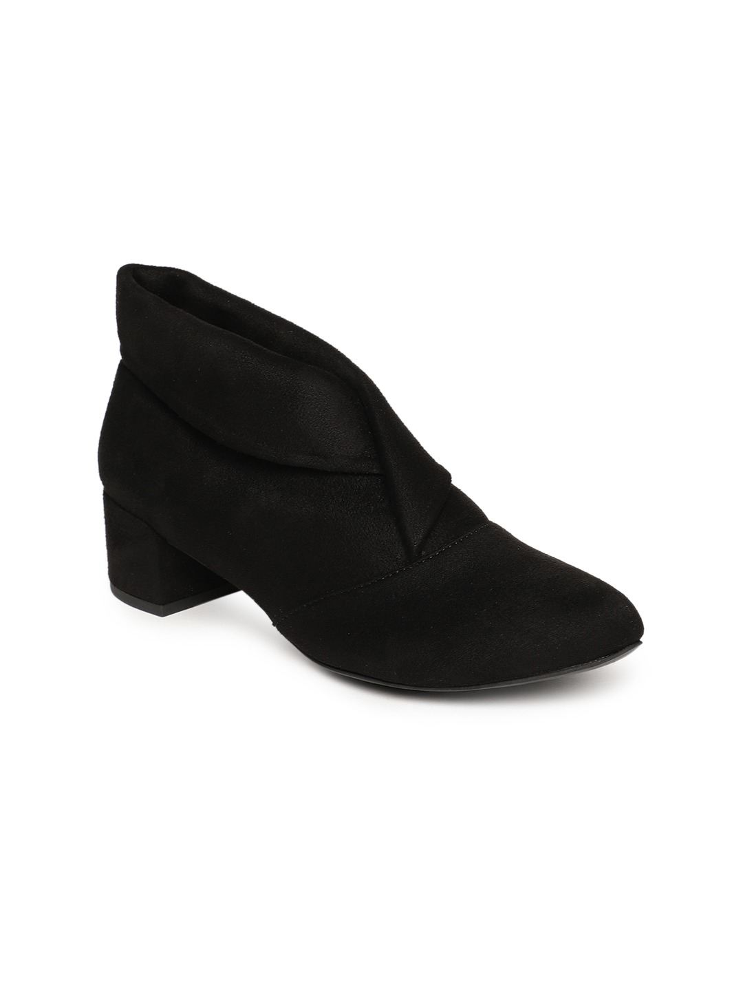 Black Solid Heeled Boots