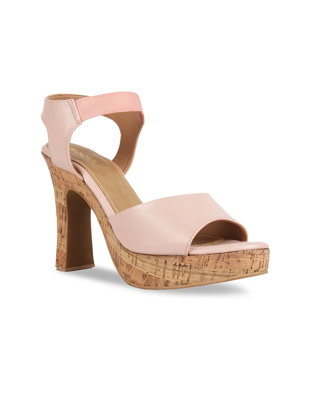 Peach-Coloured Solid Block Heels