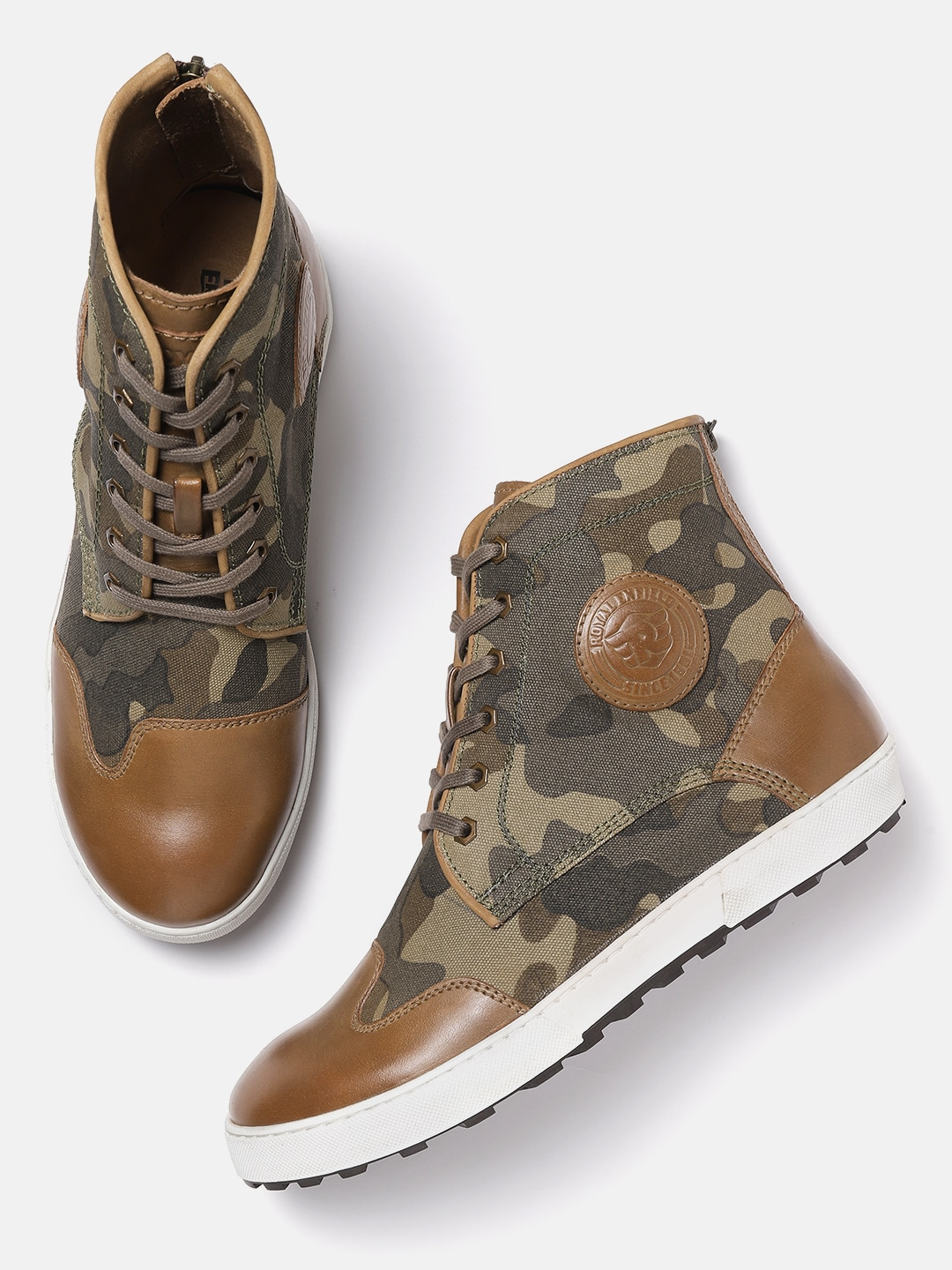 Olive Green & Brown Camouflage Print Mid-Top Sneakers