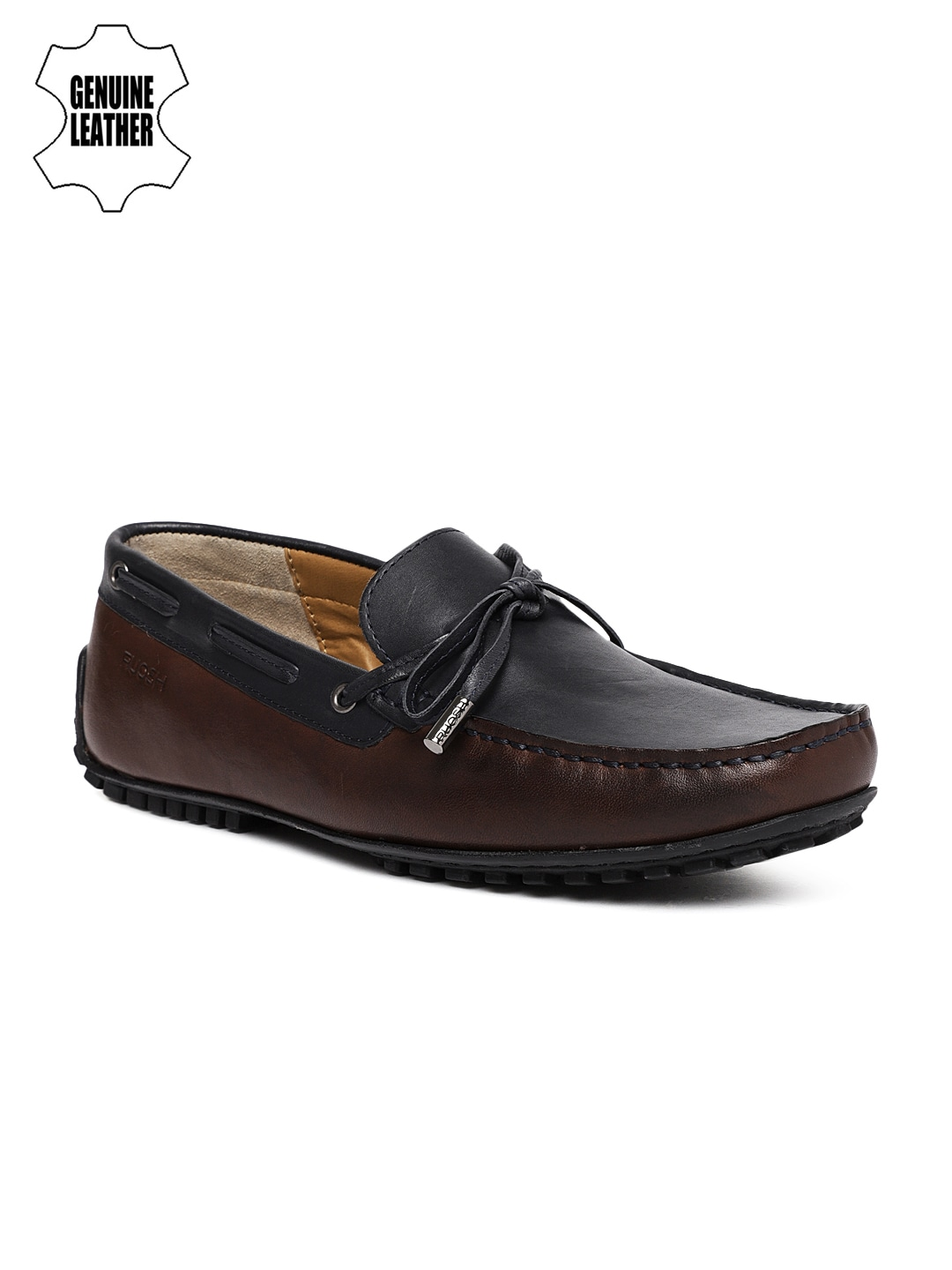 Navy Blue & Brown Genuine Leather Smart Casual Driving Shoes