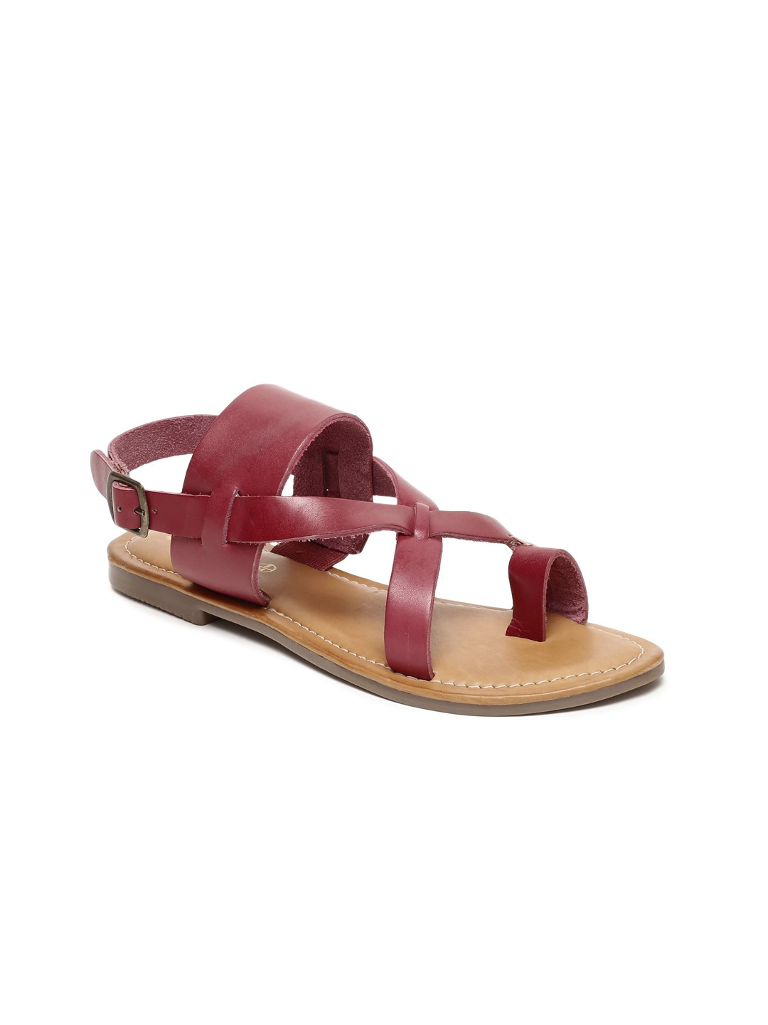 Maroon Solid Leather One Toe Flats