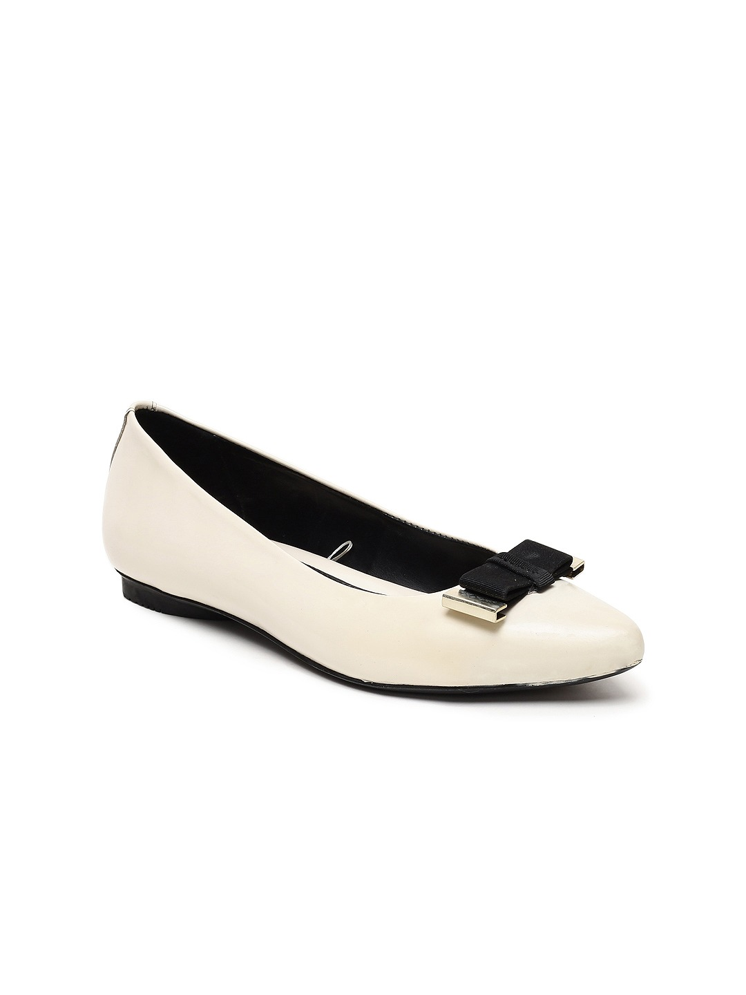 White Solid Leather Ballerinas