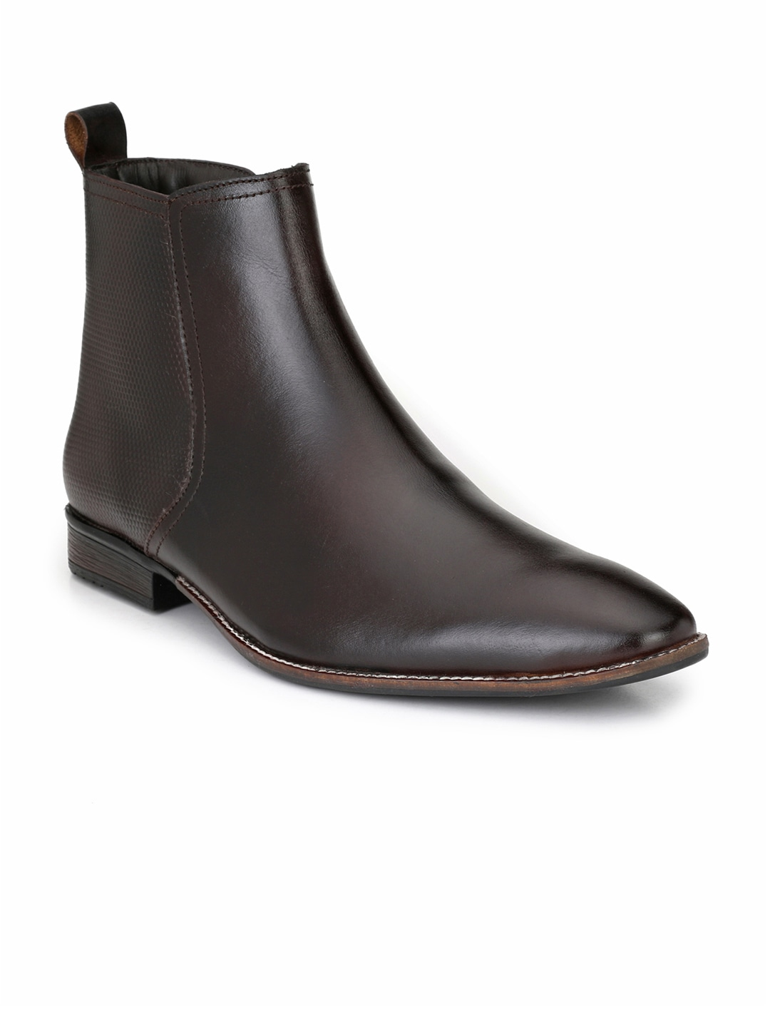 Brown Solid Leather Mid-Top Flat Boots