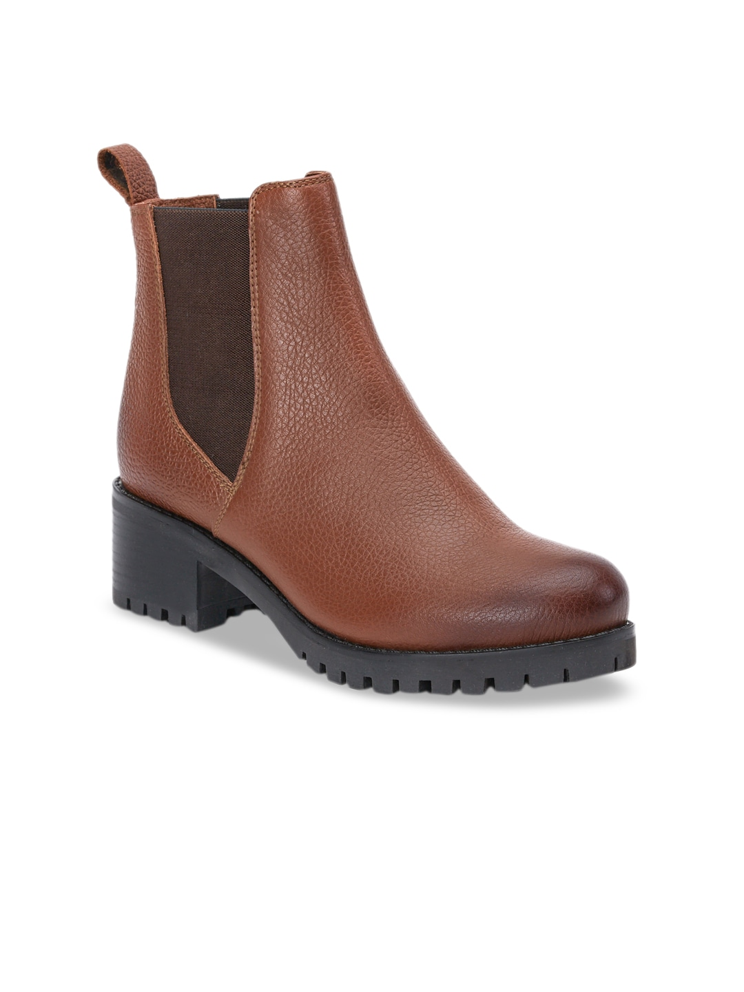 Tan Brown Solid Leather Heeled Boots