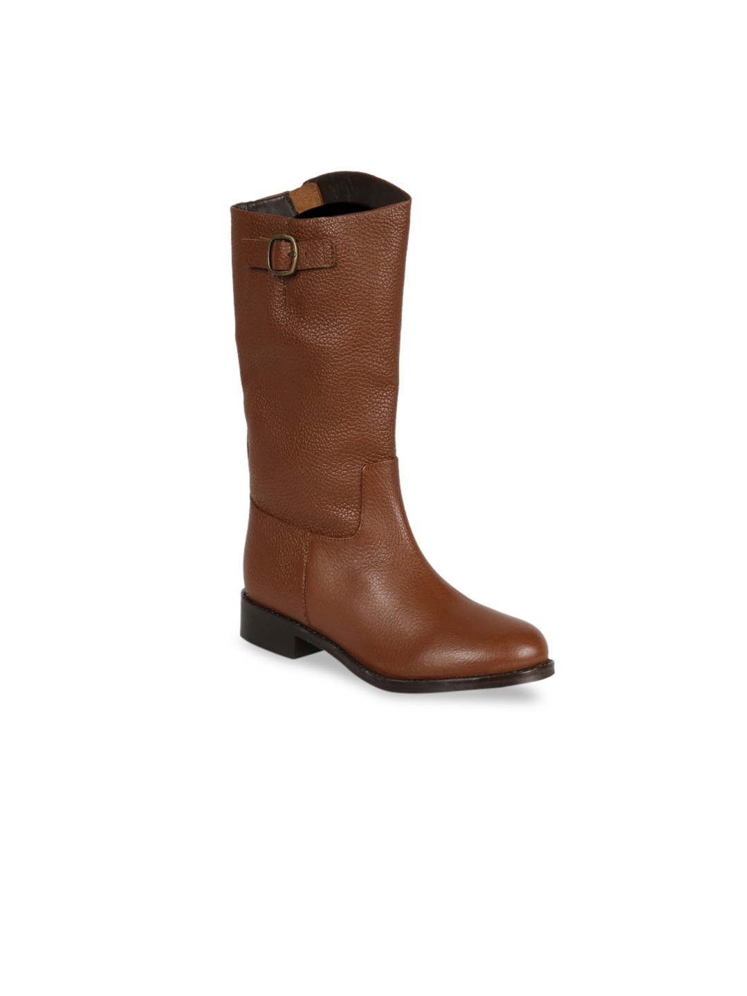 Tan Brown Solid Leather High-Top Flat Boots