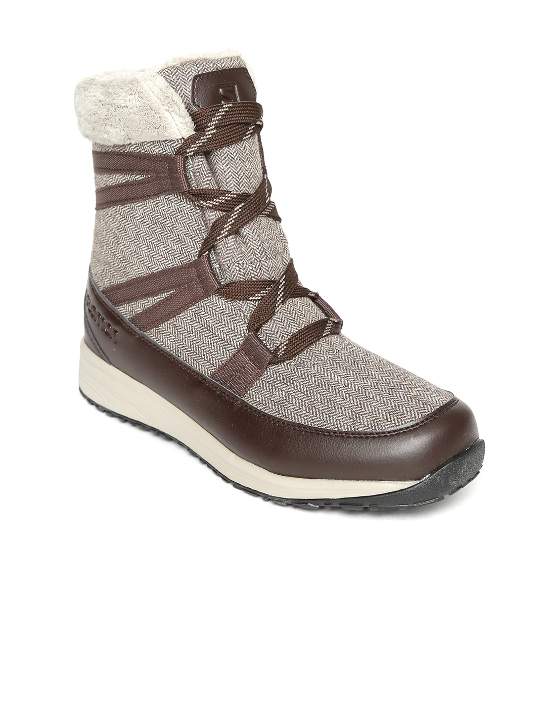 Brown Synthetic Mid-Top Trekking Shoes