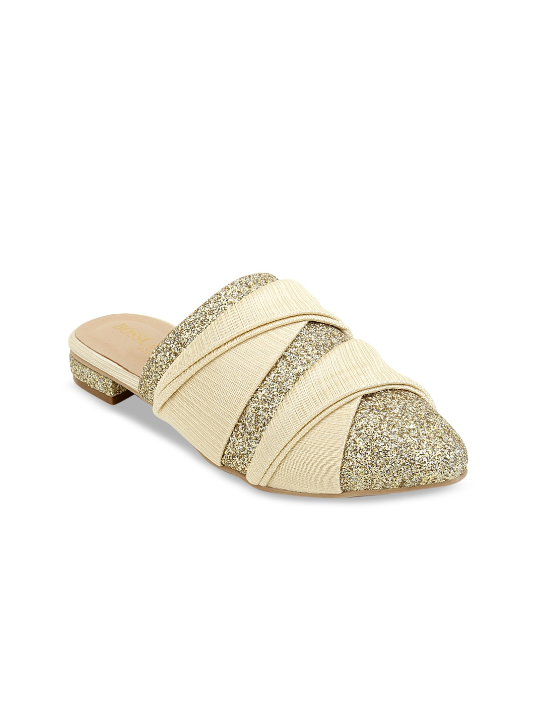 Gold-Toned Embellished Mules
