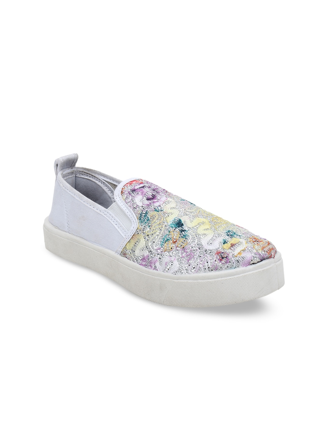 Multicoloured Woven Design Slip-On Sneakers