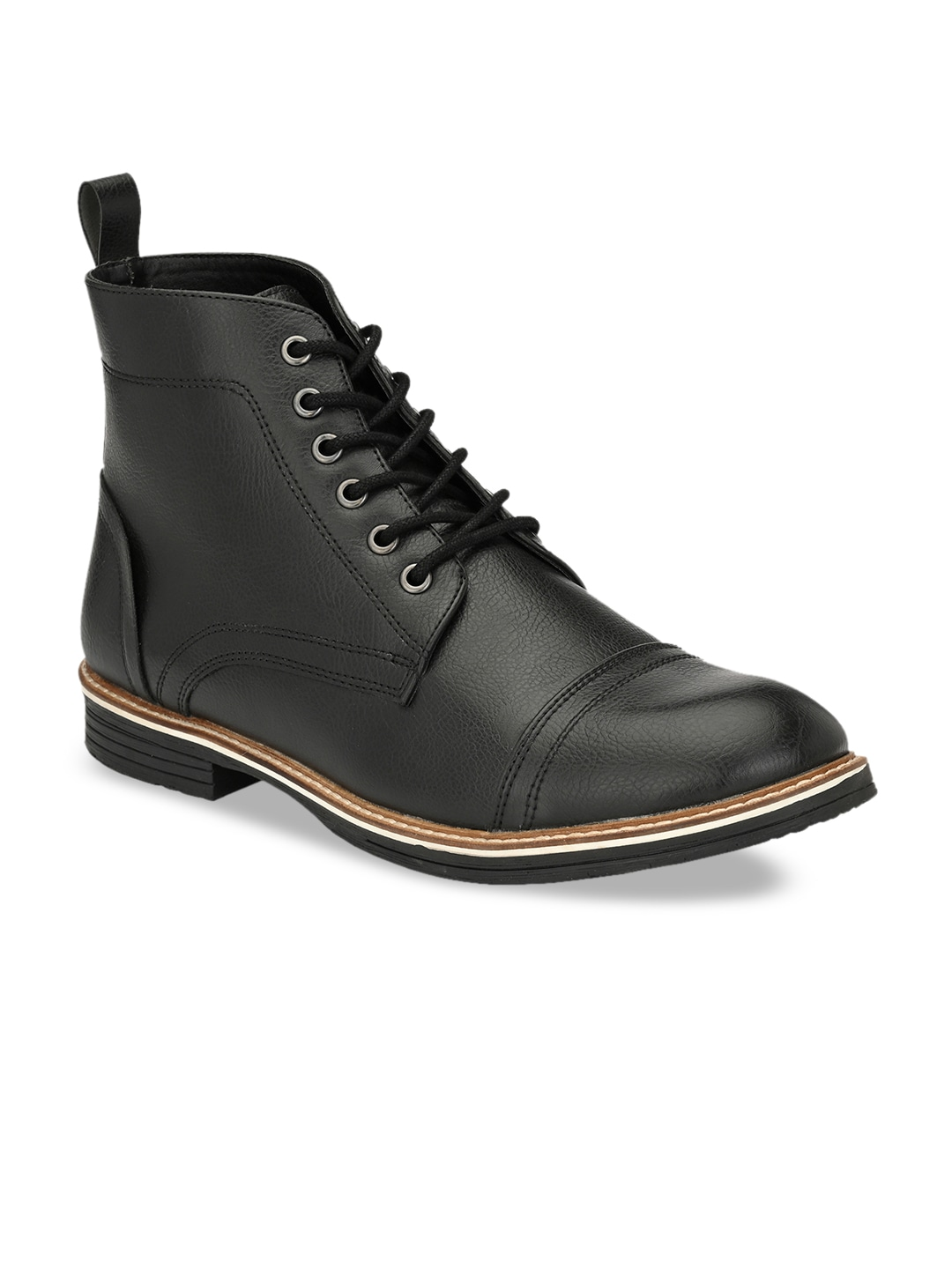 Black Solid Synthetic Leather Lightweight High-Top Flat Boots