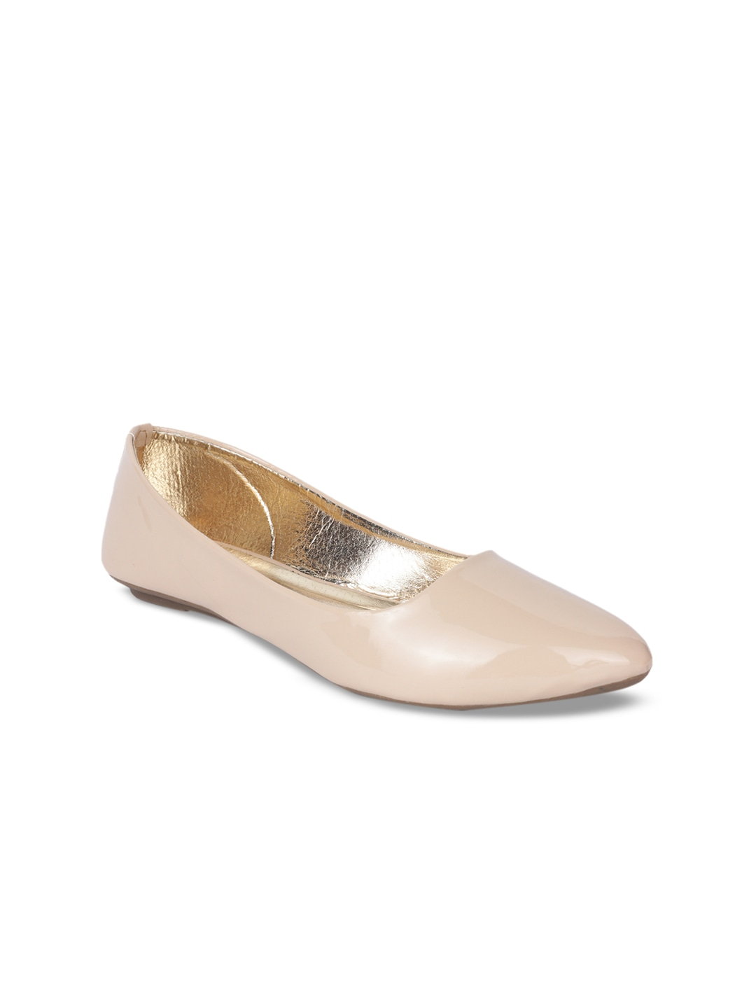 Cream-Coloured Solid Synthetic Ballerinas