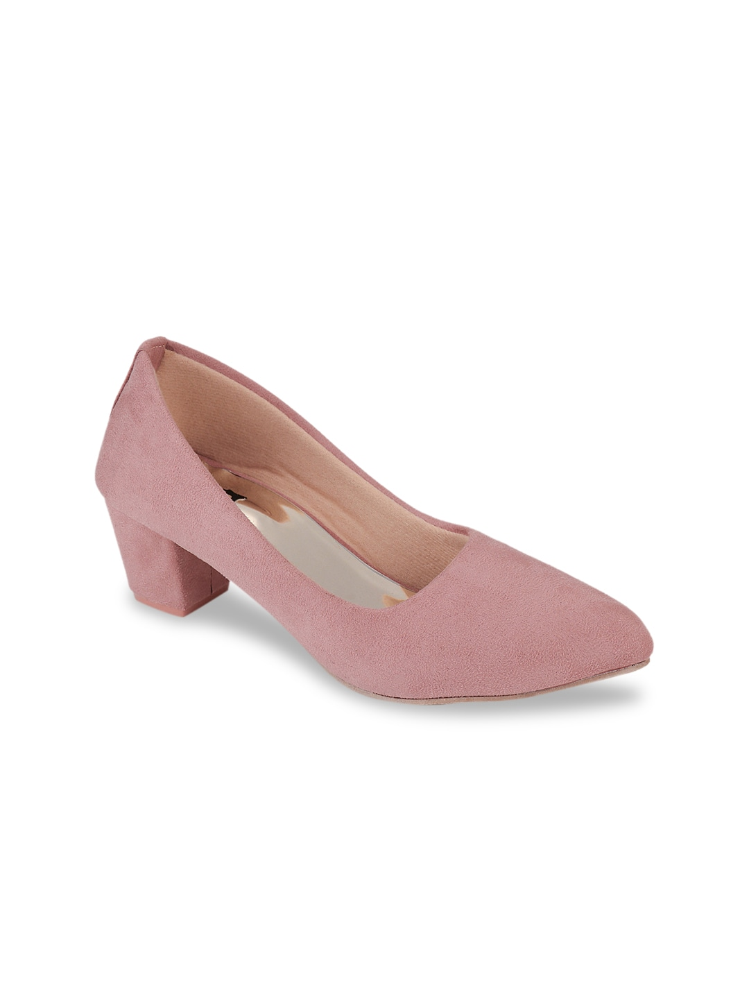 Pink Suede Solid Pumps