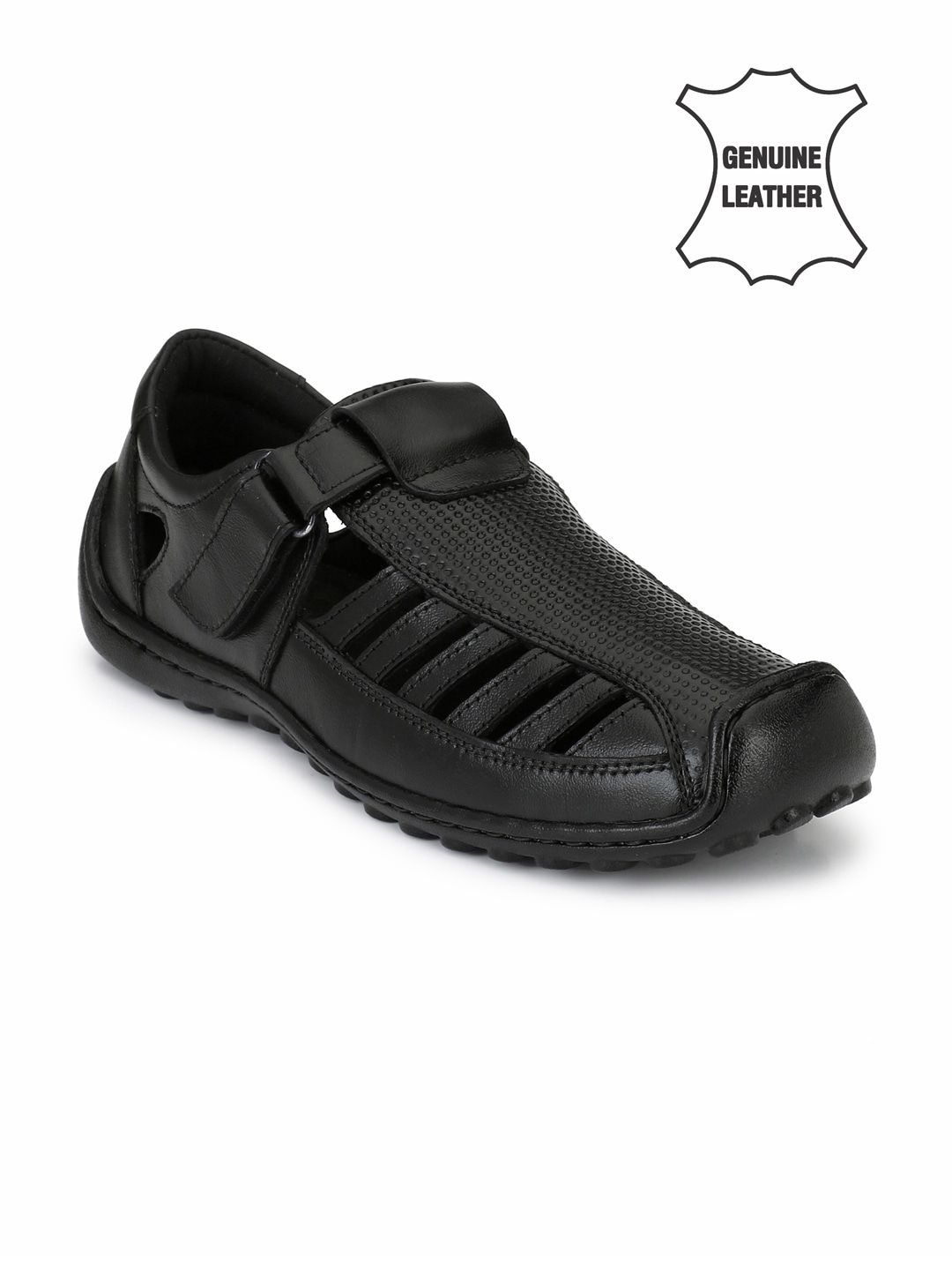Black Genuine Leather Fisherman Sandals