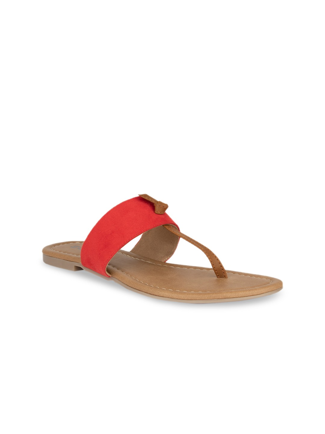 Red Solid Suede T-Strap Flats