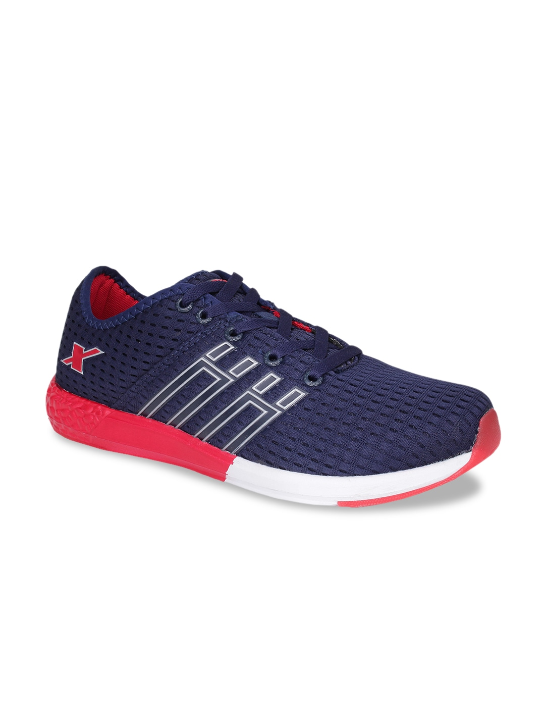 Navy Blue & Red Mesh SM-425 Running Shoes