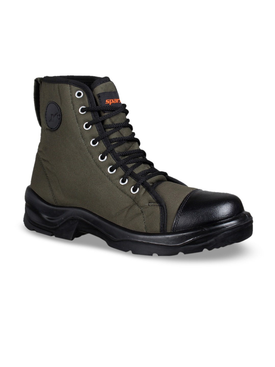 Olive Green Solid Canvas High-Top Flat Boots