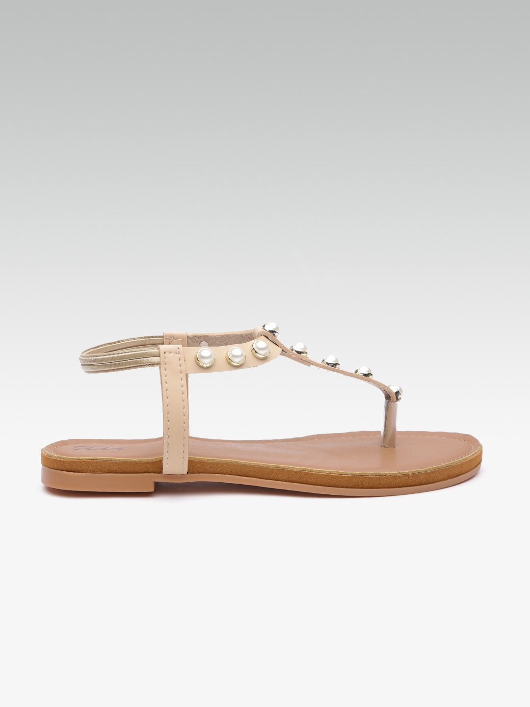 Beige Solid T-Strap Flats with Embellished Detail