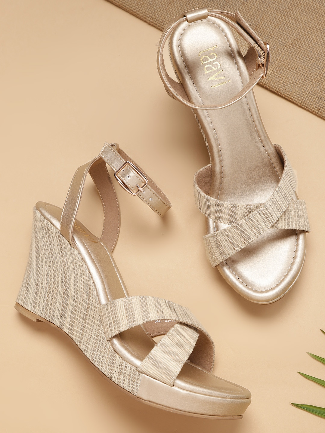 Beige Self-Striped Wedges