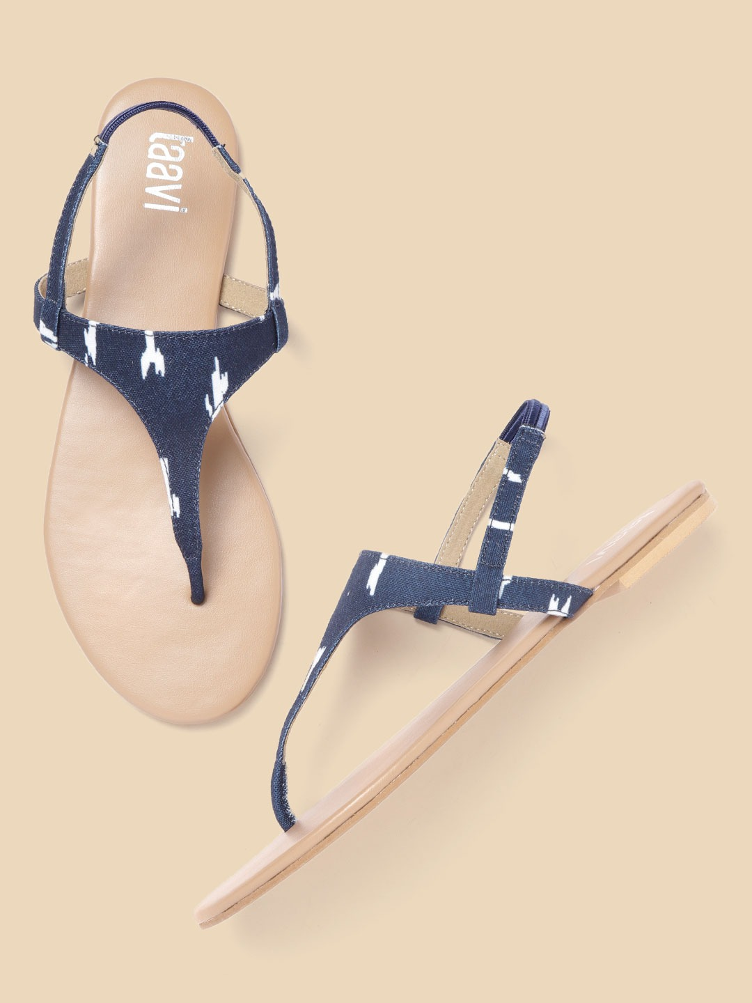 Navy Blue and White Printed T-Strap Flats