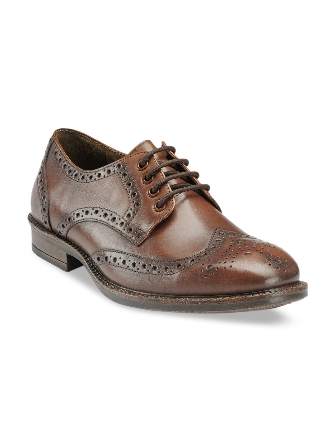 Brown Solid Leather Brogues