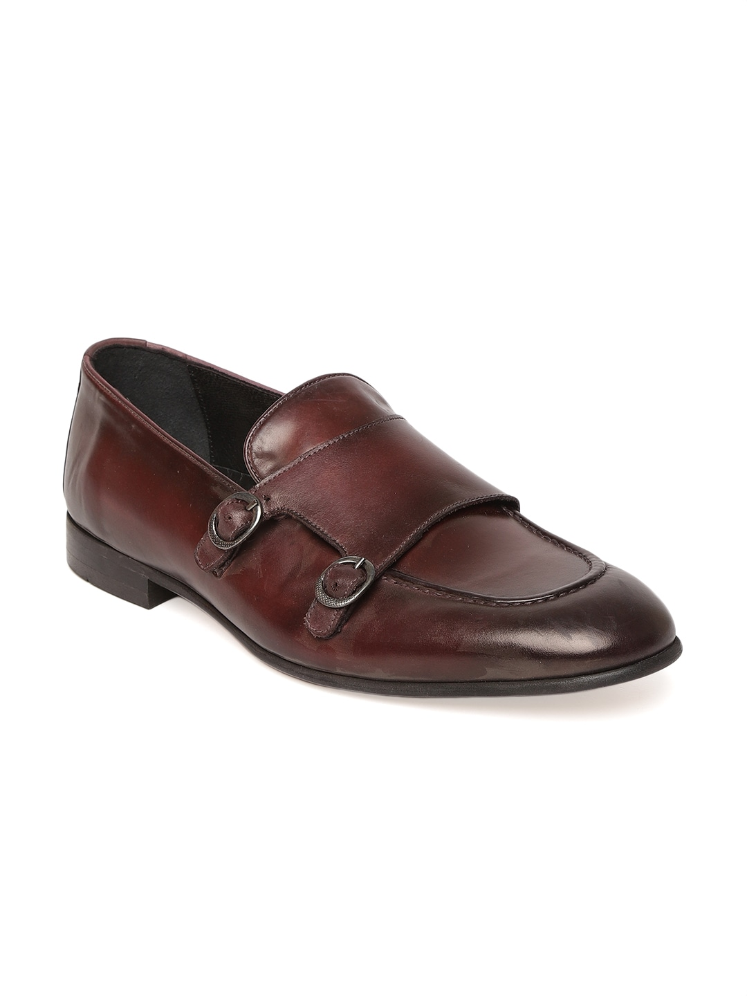 Burgundy Solid Leather Monks