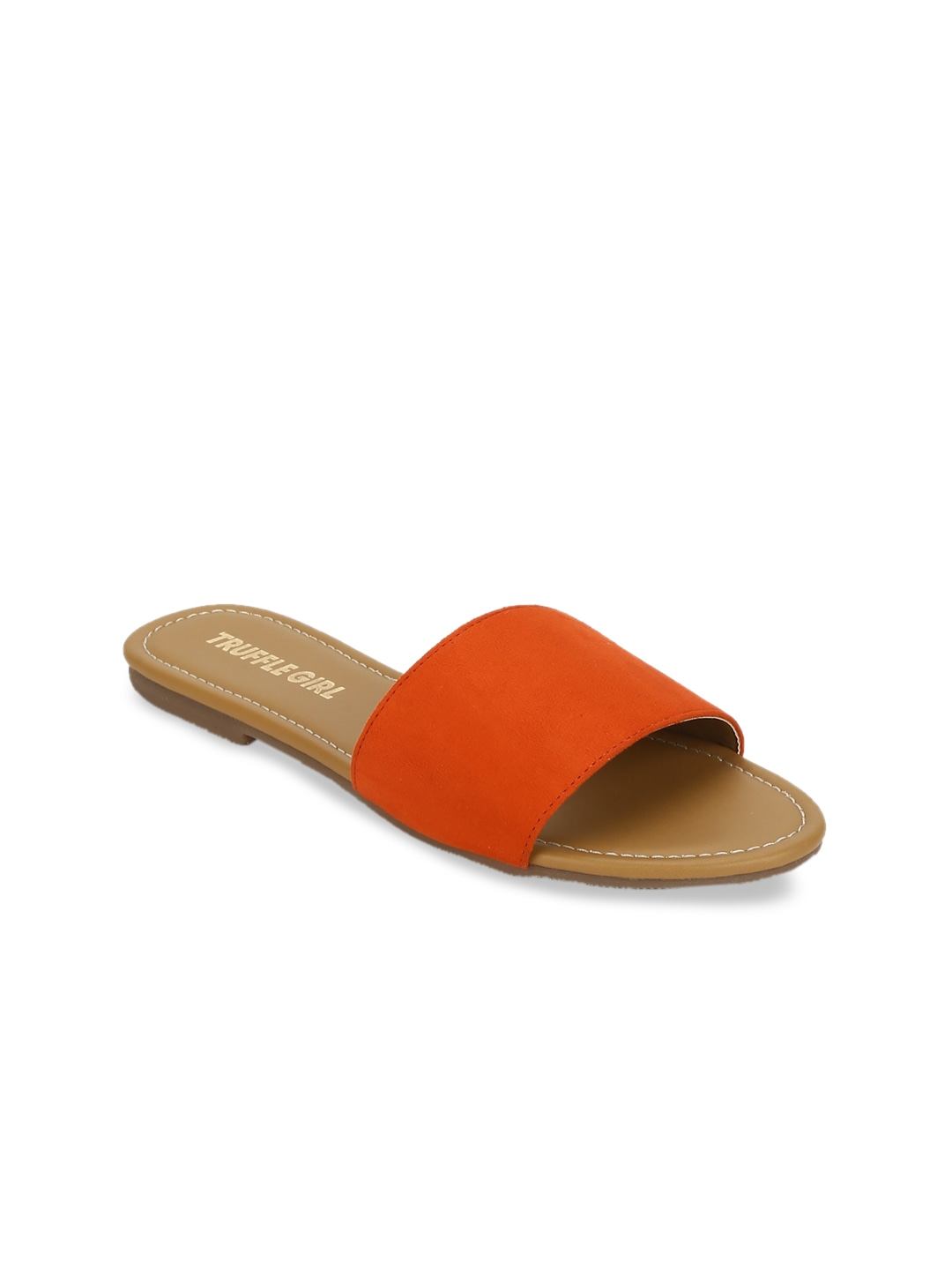 Orange Solid Open Toe Flats