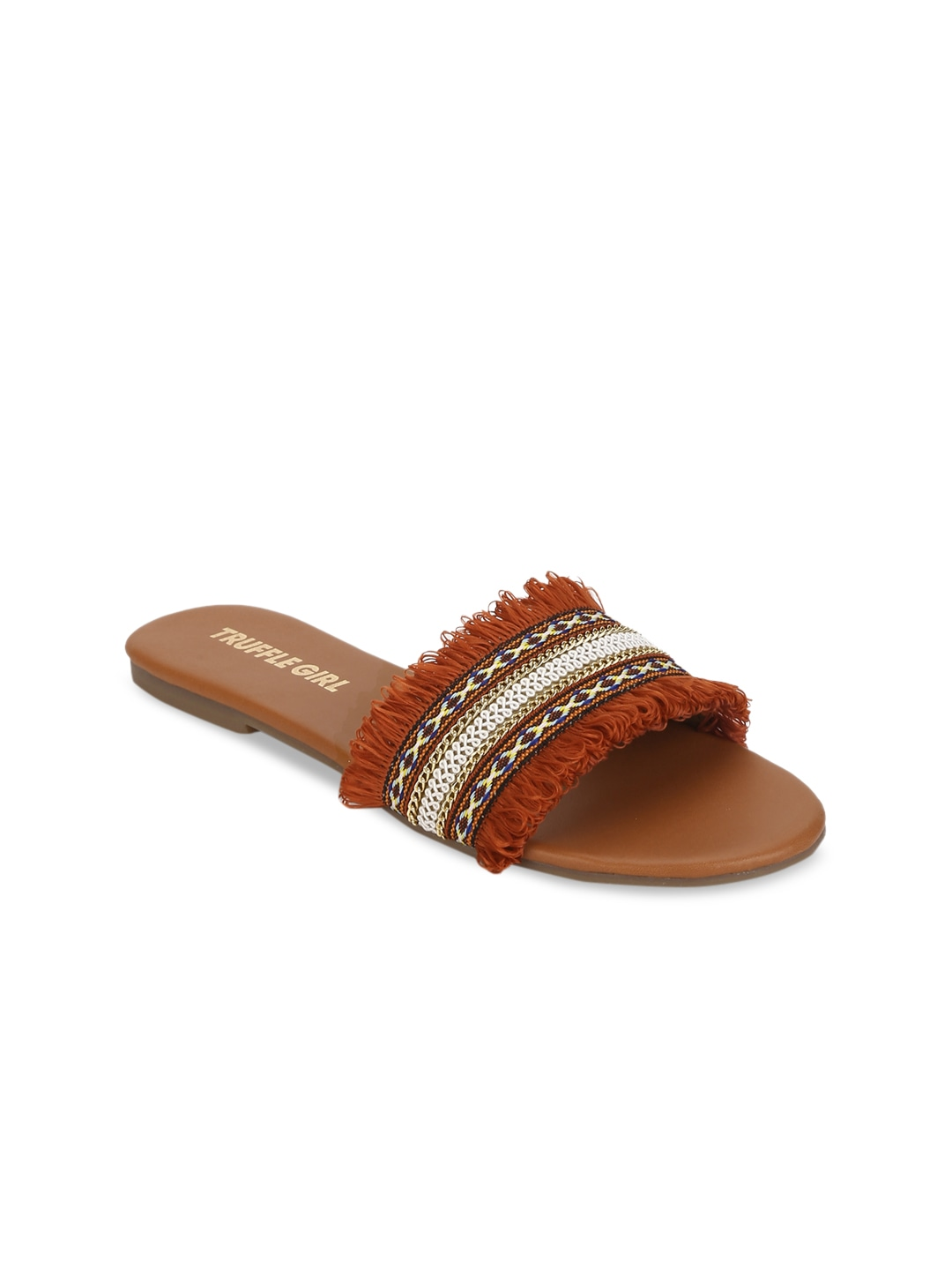 Rust Orange Solid Open Toe Flats