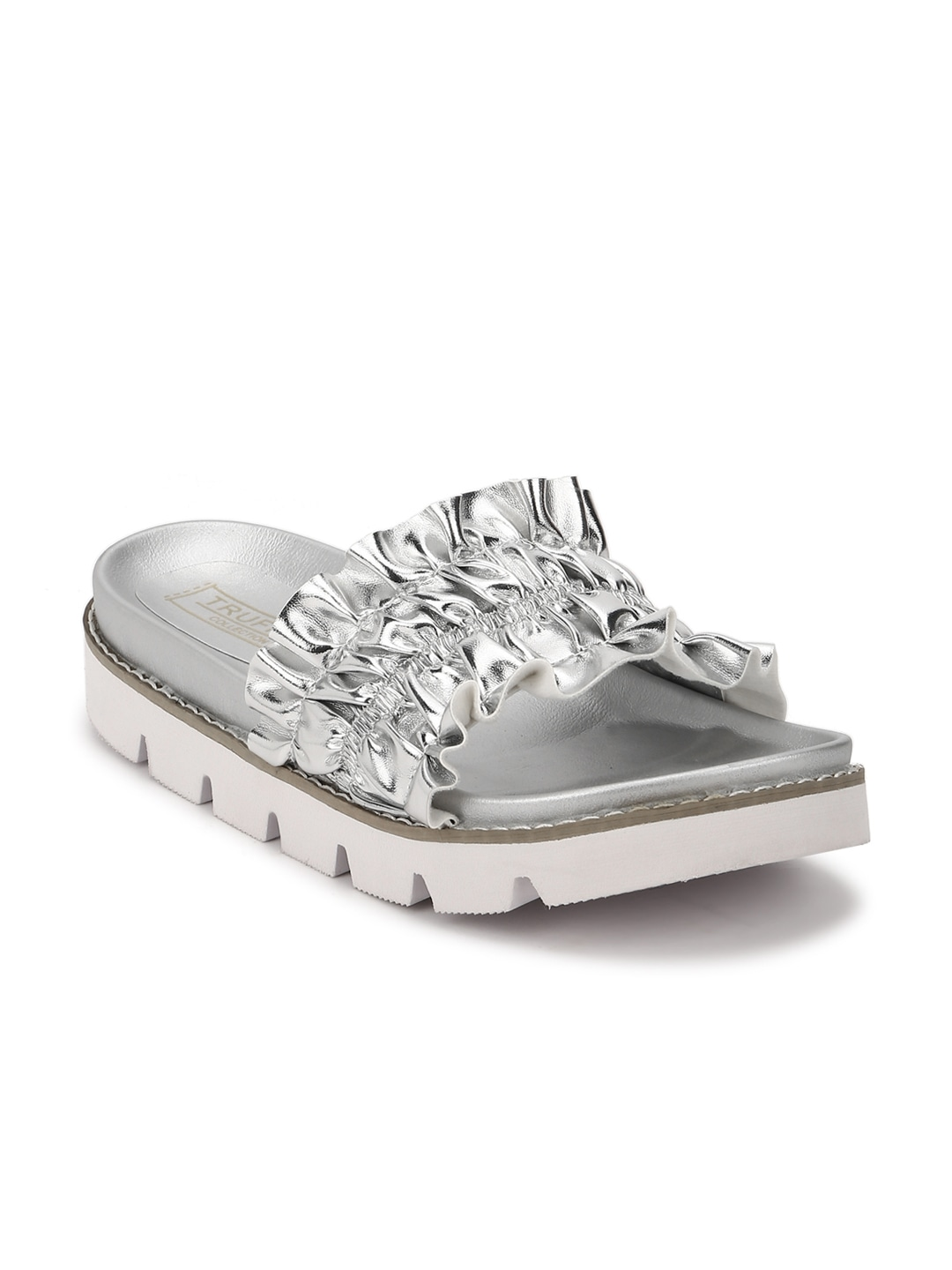 Silver-Toned Solid Synthetic Open Toe Flats