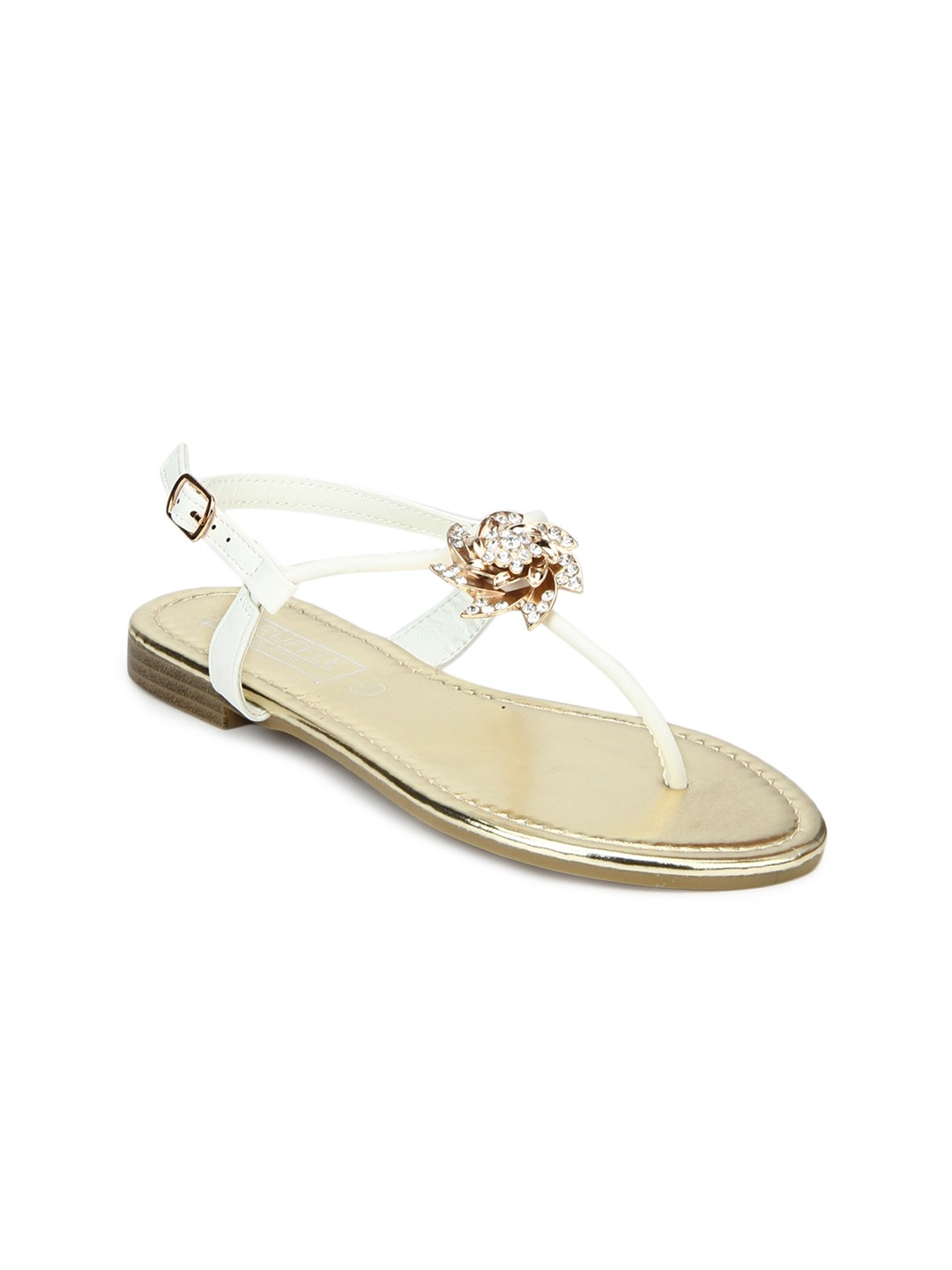 White Solid T-Strap Flats