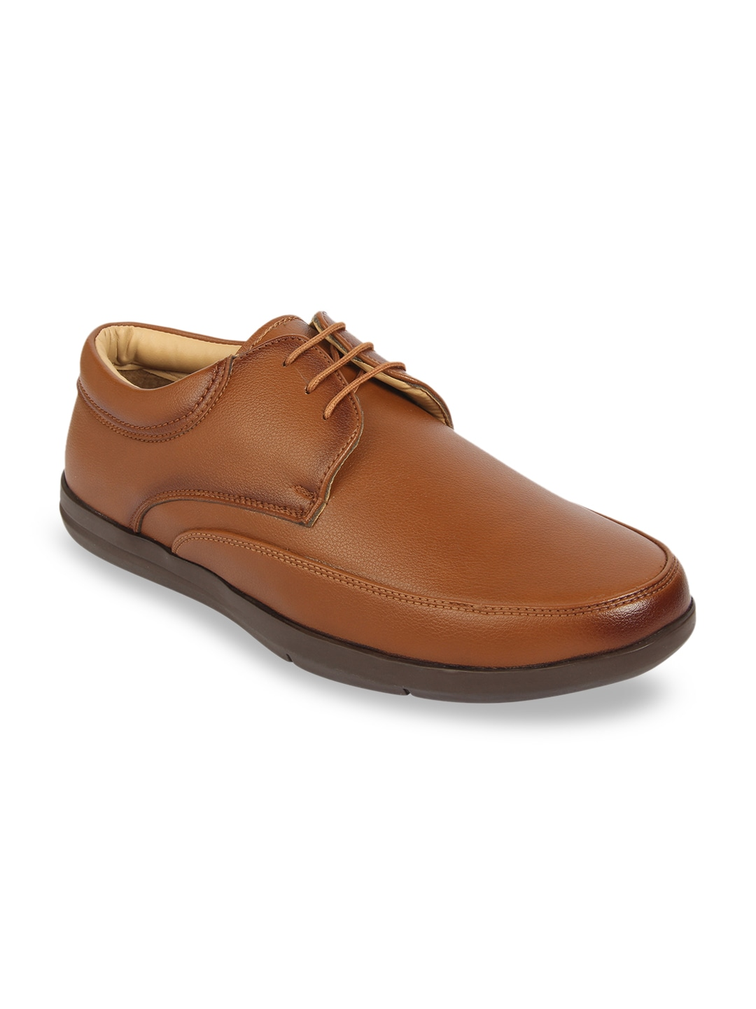 Tan Brown Textured Formal Derbys
