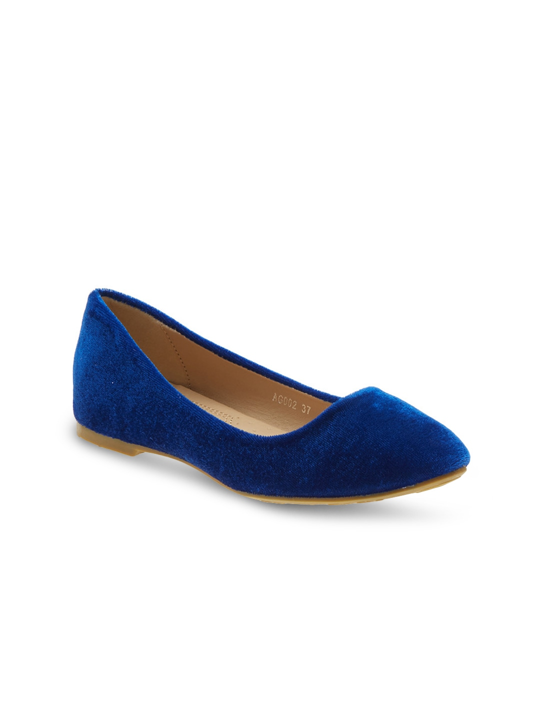 Blue Solid Suede Ballerinas